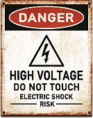 Weathered metallic placard with danger high voltage warning_vector