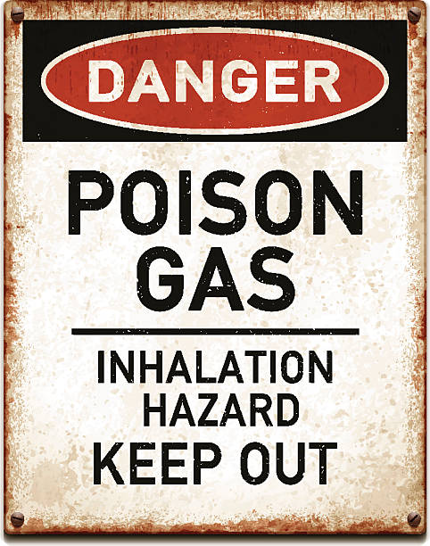 Weathered metallic placard with danger poison gas warning_vector Vintage metal danger sign with poison gas warning. Grunge square placard with rusty stains, four screws and red and black banner reading DANGER. Photorealistic vector illustration isolated on white. Layered EPS10 file with transparencies and global colors. Individual elements and textures. Related images linked below. smoke inhalation stock illustrations