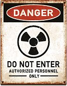 Vintage metal danger sign with warning radiation hazard icon. Grunge square placard with rusty stains, four screws and red and black banner reading DANGER. Photorealistic vector illustration isolated on white. Layered EPS10 file with transparencies and global colors. Individual elements and textures. Related images linked below.