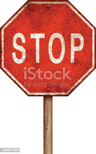 Rusty metal stop sign isolated on white. Rusty stains, two screws and long wooden post. Photorealistic vector illustration. Layered EPS10 file with transparencies and global colors. Individual elements and textures. Related images linked below.
