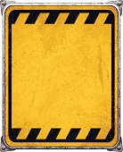 Old and rusty vertical metal placard with copy space.  Weathered rectangular metal banner mounted on steel frame with rusty stains, four screws and metallic corners. Yellow background with a thin distressed black line and warning stripes. Photorealistic vector illustration isolated on white. Layered EPS10 file with transparencies and global colors. Individual elements and textures. Related images linked below.