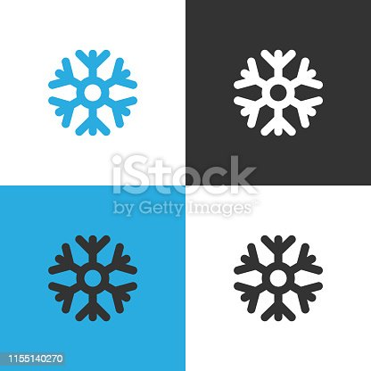 Snowflake weather Icon. Set of four Snowflake icon on different backgrounds. Vector illustration.