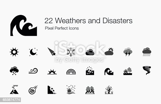 These icons are created to represent the weathers and natural disasters of the world. I hope you find them useful in your projects.