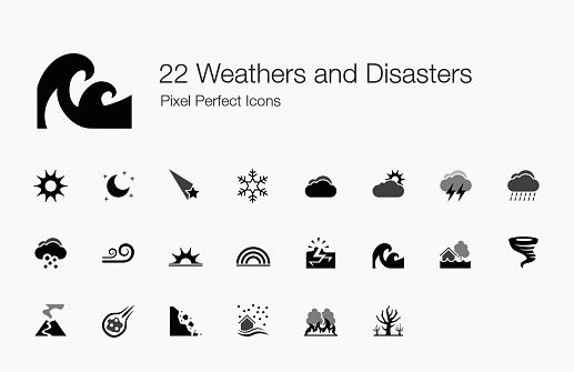 22 Weathers and Disasters Pixel Perfect Icons
