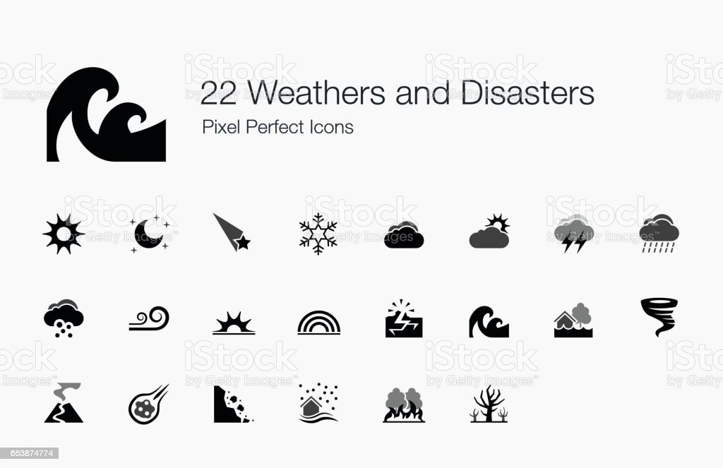 22 Weathers and Disasters Pixel Perfect Icons vector art illustration