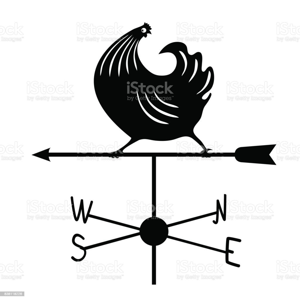 Weathervane - Black running rooster1. vector art illustration
