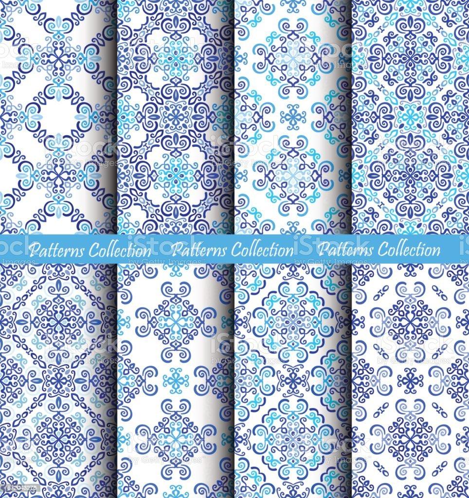 Weave Patterns Blue Backgrounds vector art illustration