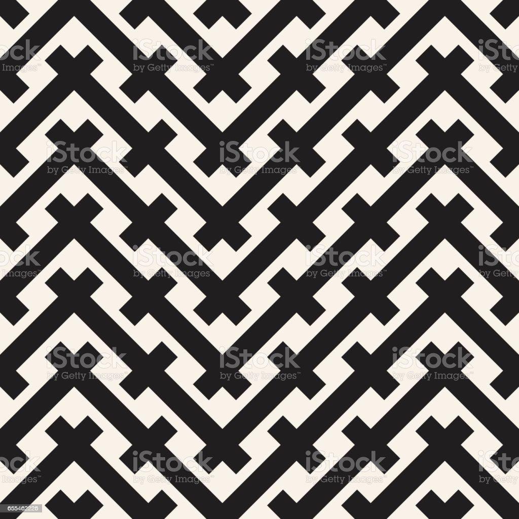 Weave Seamless Pattern. Braiding Background of Intersecting Stripes Lattice. Black and White Geometric Vector Illustration. vector art illustration