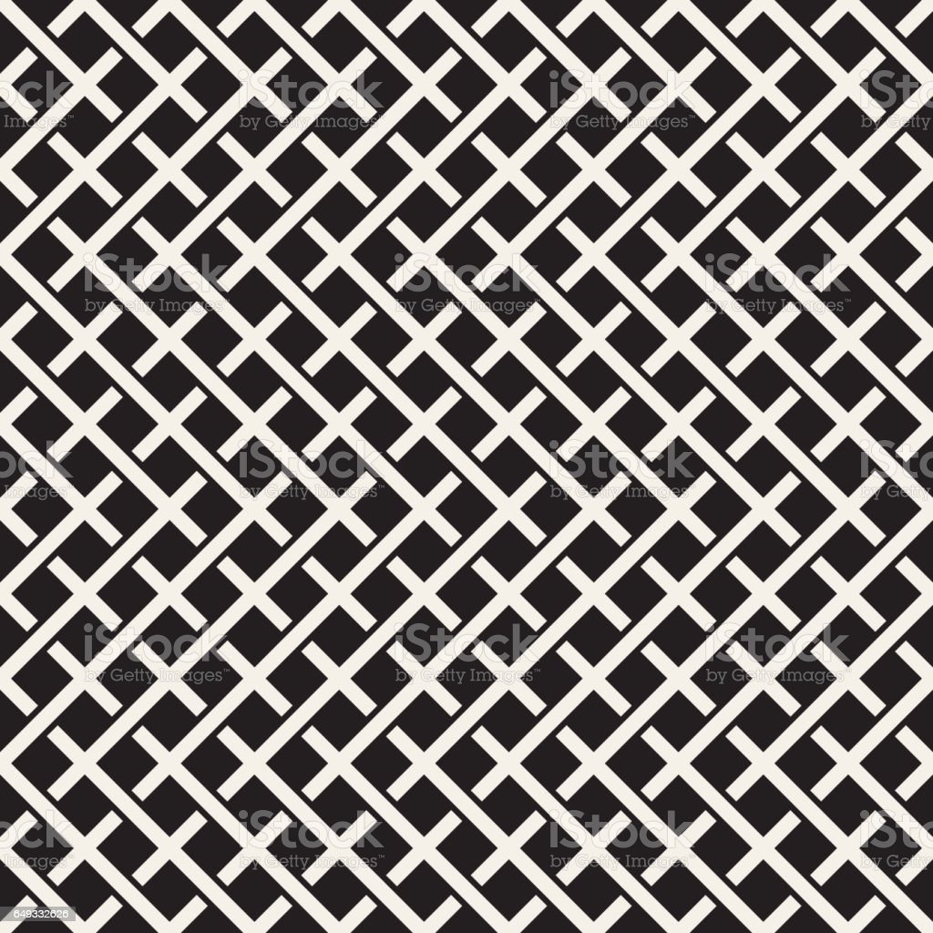 Weave Seamless Pattern. Stylish Repeating Texture. Black and White Geometric Vector Illustration. vector art illustration