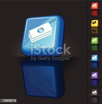 istock Web 2.0 design of a money stack icon. 133938218