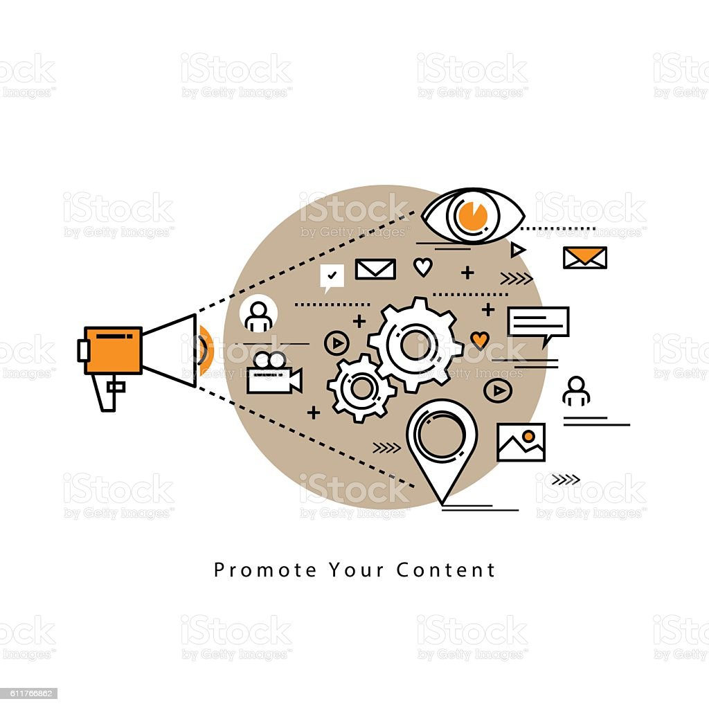 Web advertising and content management vector art illustration