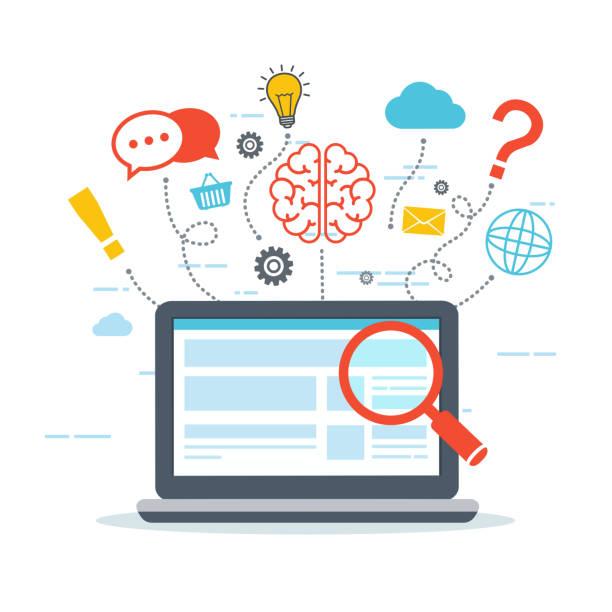 ウェブ解析と情報。seo の最適化。デジタル マーケティングの概念。 - 科学研究点のイラスト素材/クリップアート素材/マンガ素材/アイコン素材