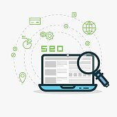 SEO flat style line vector. Laptop with website and analytics, magnifying glass. Abstract SMM concept for web projects or applications. Payment, globe, money and other icons. Dashed line circles.