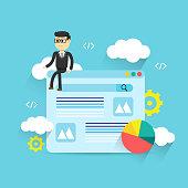 Flat illustration web analytics design, SEO optimization