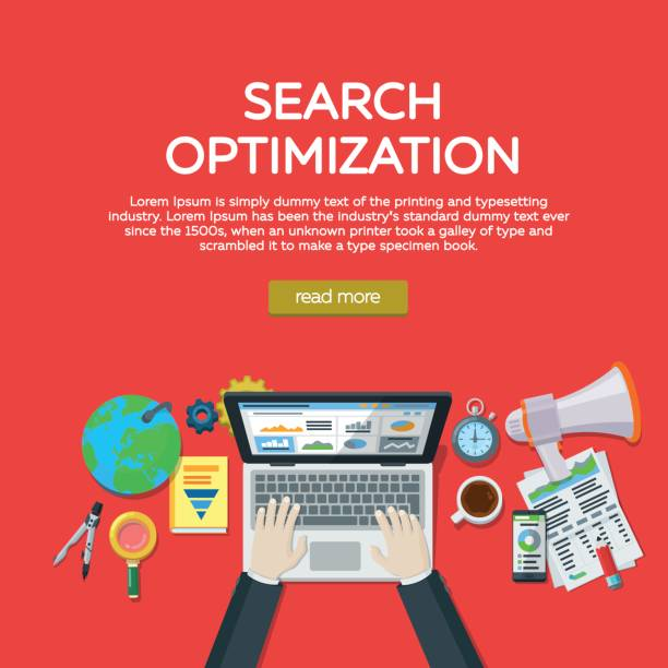 Web analytics elements and marketing. Website development, search engine optimization. Workplace expert in SEO. vector art illustration
