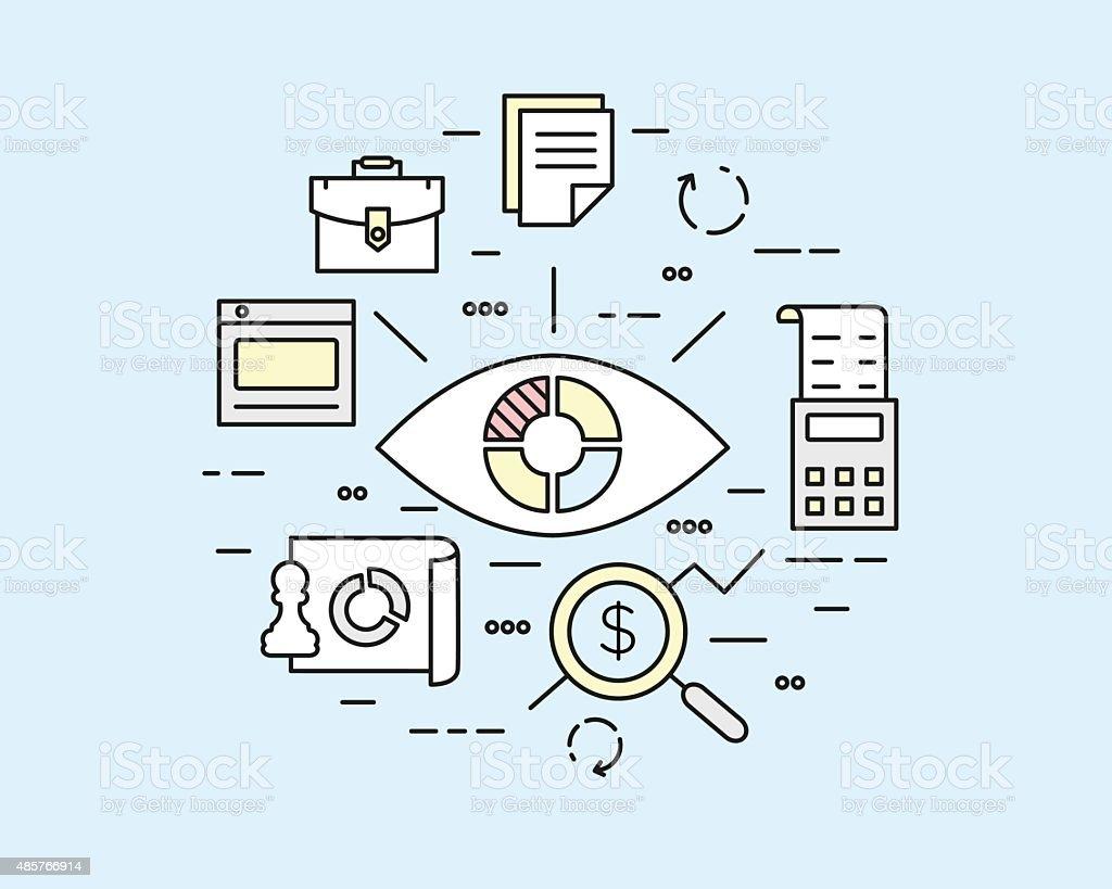 Web analytics information, data processing and development website statistic vector art illustration