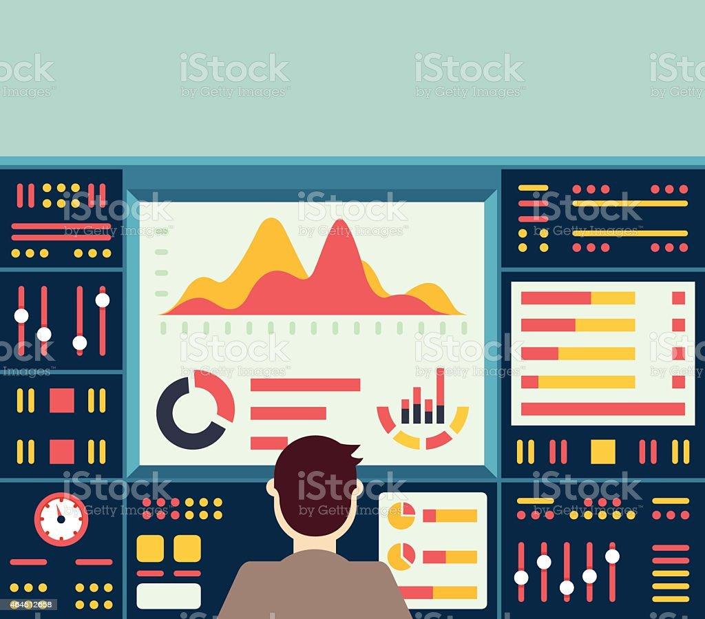Web analytics information on dashboard and development website statistic vector art illustration