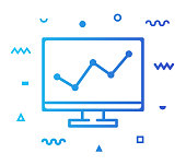Web analytics outline style icon design with decorations and gradient color. Line vector icon illustration for modern infographics, mobile designs and web banners.