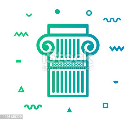 Architecture outline style icon design with decorations and gradient color. Line vector icon illustration for modern infographics, mobile designs and web banners.