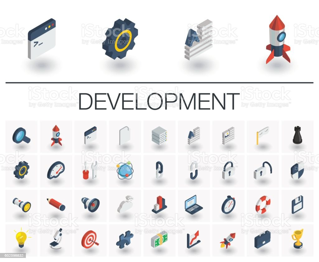 Web and App development isometric icons. 3d vector