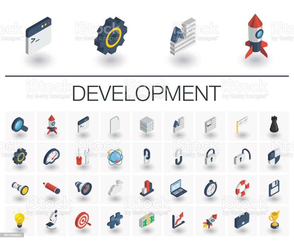 Web e App desenvolvimento isométrica ícones. 3D vector - ilustração de arte em vetor