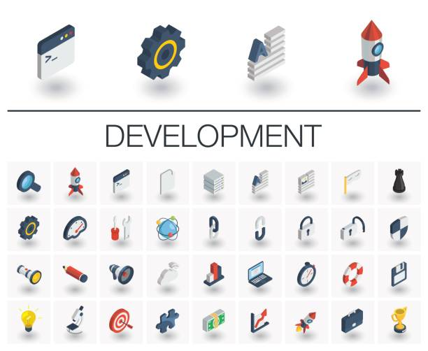 web and app development isometric icons. 3d vector - 3d icons stock illustrations, clip art, cartoons, & icons