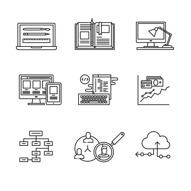 web-und app-entwicklung und programmierung - webdesigner grafiken stock-grafiken, -clipart, -cartoons und -symbole