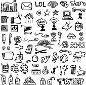 Vector illustrations of a set of web and business doodles. Zip contains transparent PNG file.