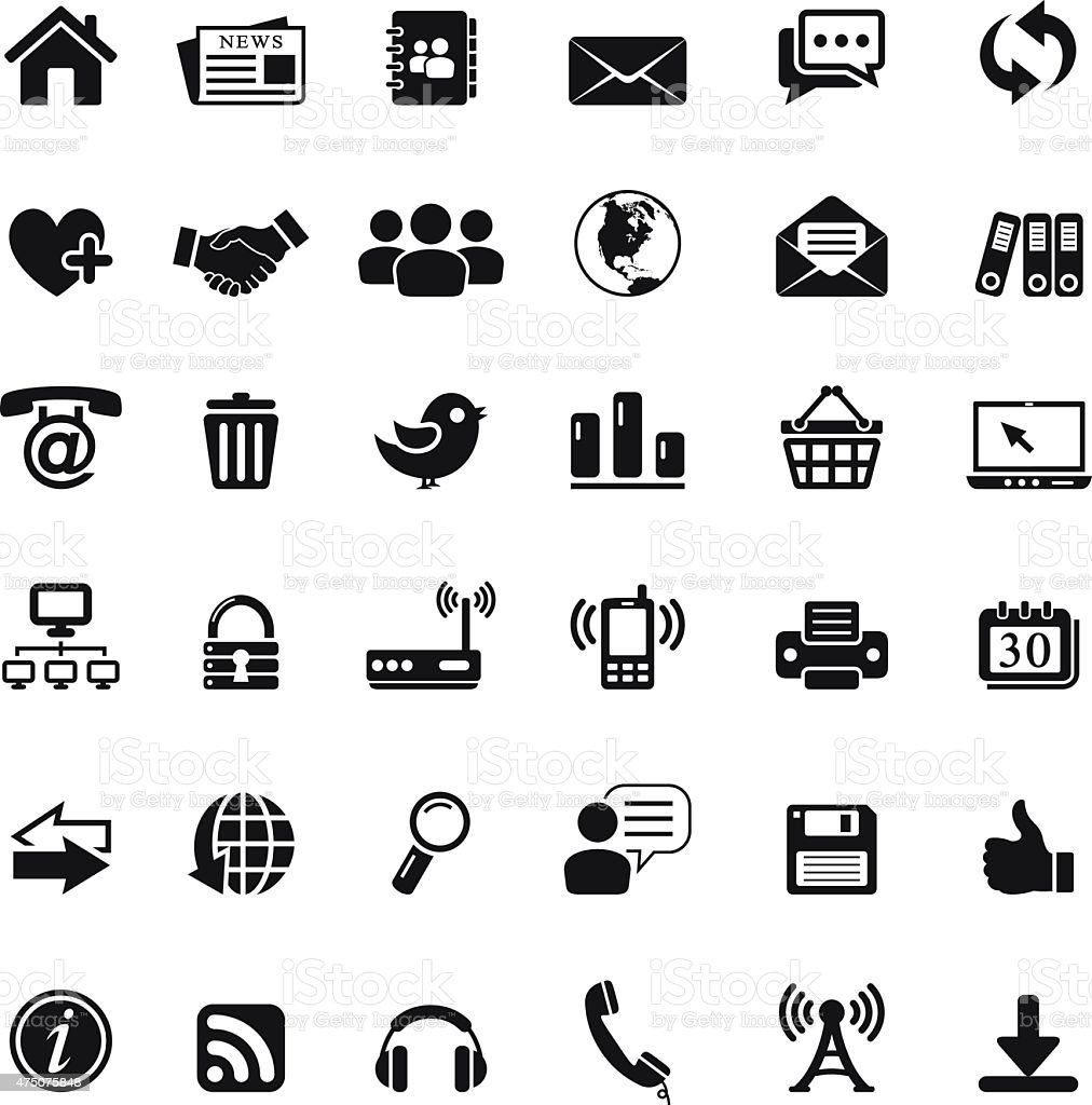 web and communication icons vector art illustration