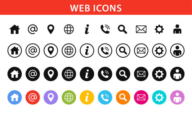 Web and Contact icons set. Vector illustration. stock illustration Web and Contact icons set. Vector illustration. stock illustration web address stock illustrations