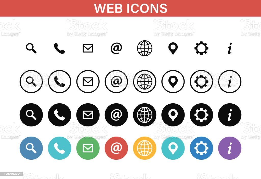 Web and Contact icons set. Vector illustration. royalty-free web and contact icons set vector illustration stock illustration - download image now