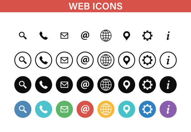 Web and Contact icons set. Vector illustration. vector art illustration