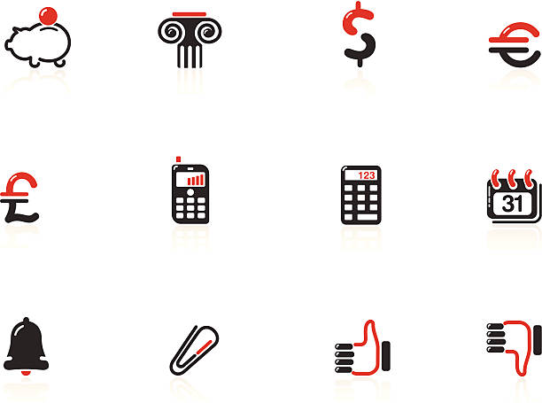 web and financial icons | nero series - byteandpixel stock illustrations