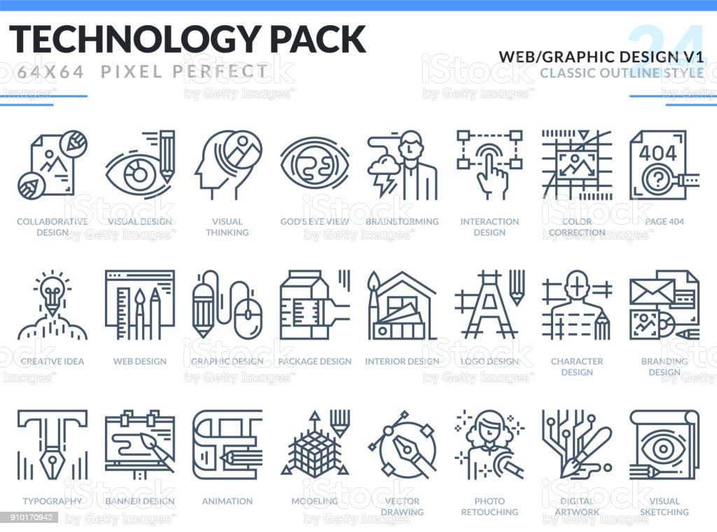 Web et Design graphique Icons Set. Technologie contour pack d'icônes. Pixel parfait fine ligne icônes vectorielles pour application de web design et site Web. - Illustration vectorielle
