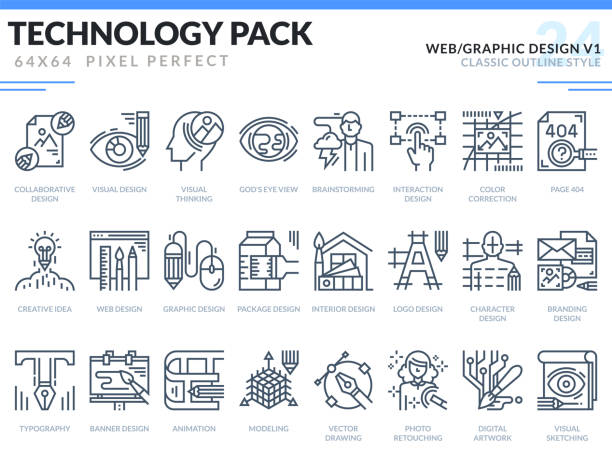 Web and Graphic Design Icons Set. Technology outline icons pack. Pixel perfect thin line vector icons for web design and website application. Web and Graphic Design Icons Set. Technology outline icons pack. Pixel perfect thin line vector icons for web design and website application. interior designer stock illustrations