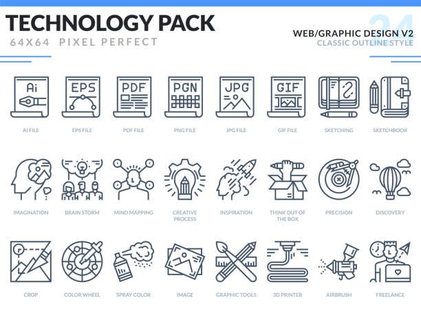 웹 및 그래픽 디자인 아이콘 세트입니다. 기술 개요 아이콘 팩입니다. 웹 디자인 및 웹 사이트 응용 프로그램에 대 한 픽셀 완벽 한 얇은 선 벡터 아이콘. - gif stock illustrations