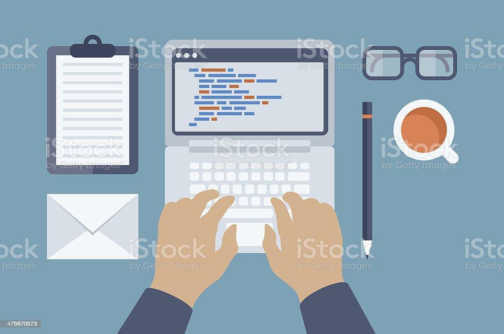 Web and HTML programming flat illustration vector art illustration
