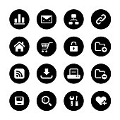 An illustration of web and internet circle icons set for your web page, presentation, apps & design products. Black & white design and has a metal frame that makes it look dazzling. Vector format can be fully scalable & editable.