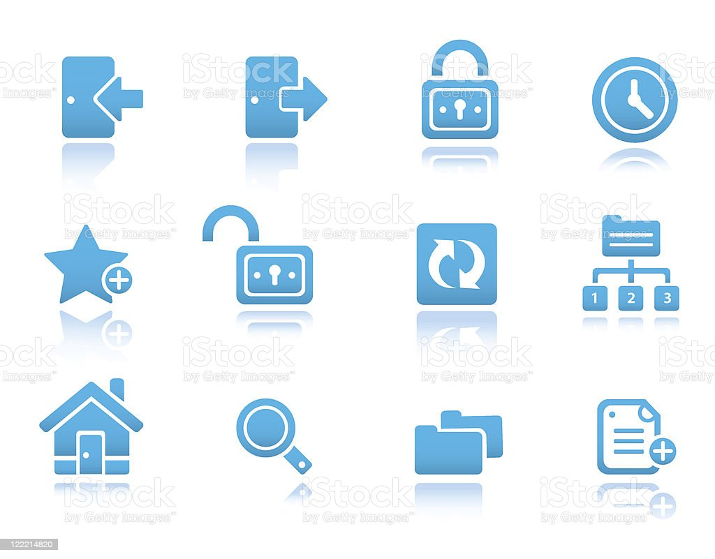 Web and Internet icons, set 2 | Blue reflected series royalty-free stock vector art