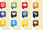 Simple icons on bookmark buttons, for web sites, applications and presentations, set 4.
