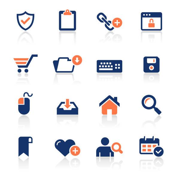 웹 및 인터넷 두 컬러 아이콘 설정 - home icon stock illustrations