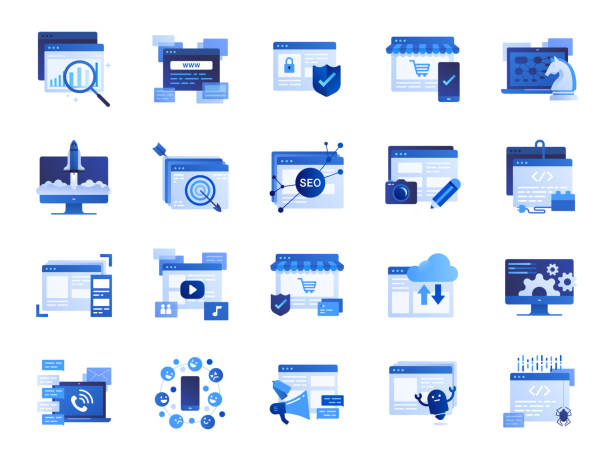 Web and marketing icon set. Included icons as SEO, statistics, content, online and more. vector art illustration