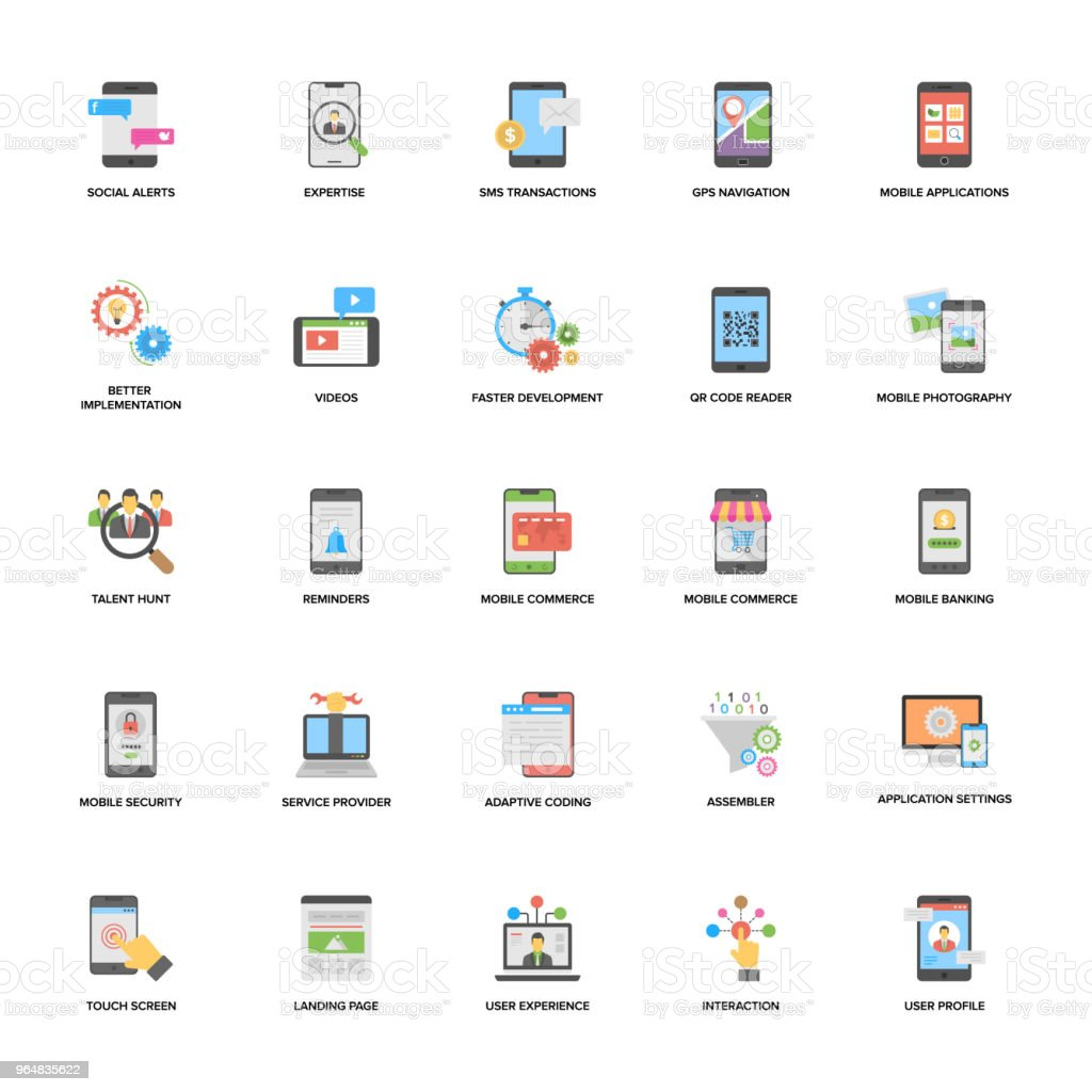 Web and Mobile Application Development Vector Icons Set royalty-free web and mobile application development vector icons set stock vector art & more images of assistance
