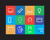 Web and Mobile Development Linear Icons Set