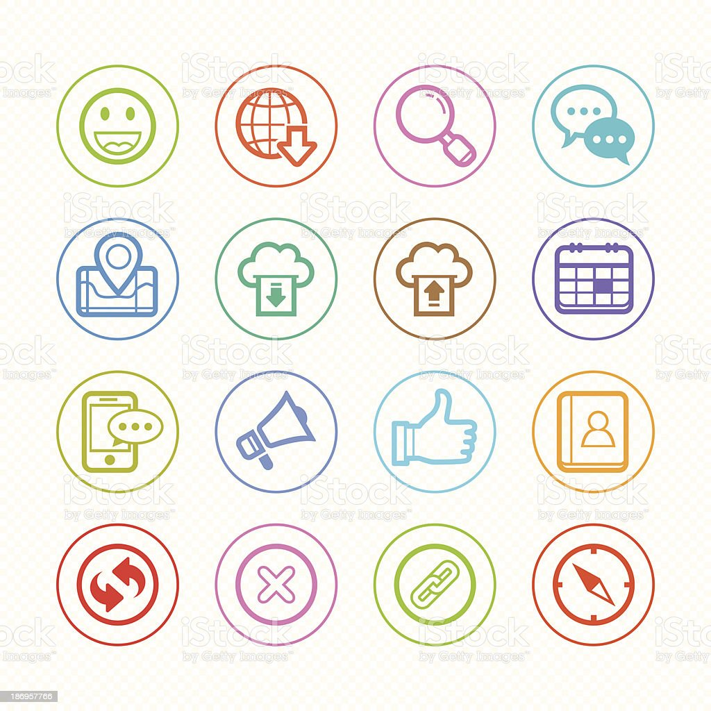 Web and Mobile line color icon set # Vector illustration royalty-free web and mobile line color icon set vector illustration stock vector art & more images of 'at' symbol