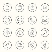 Web and Mobile with circle line icons white background