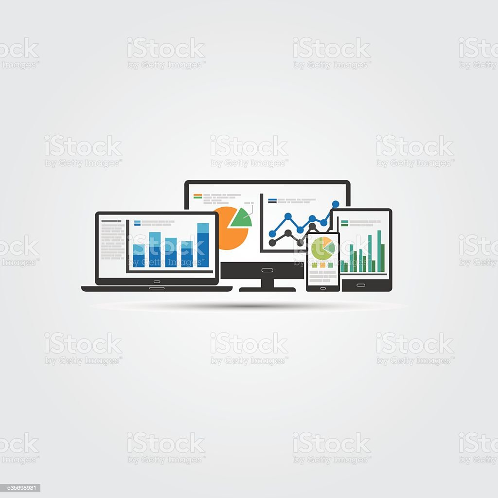 Web and SEO analytics concept - Illustration vector art illustration