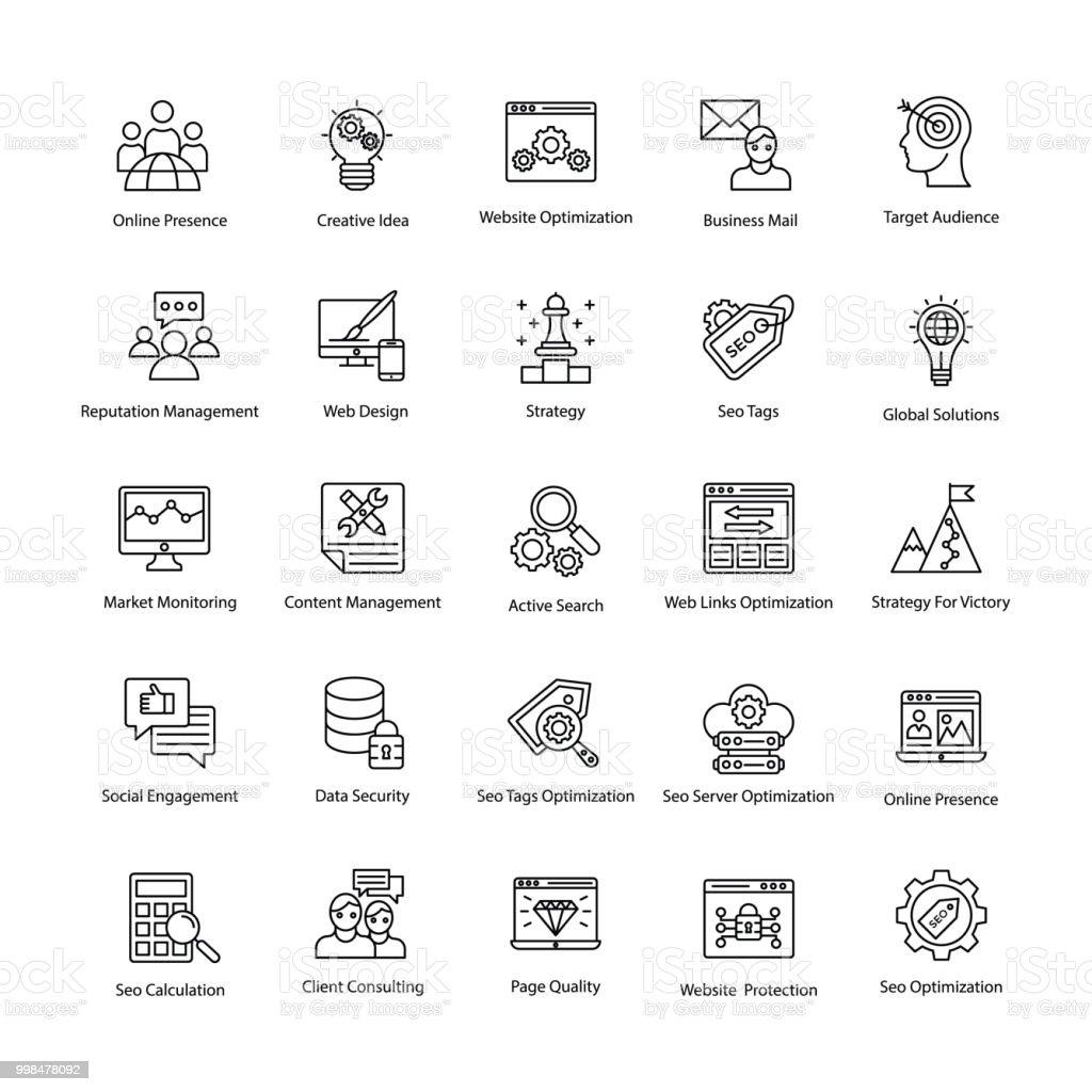 Web Und Seo Linie Vektoricons Stock Vektor Art und mehr Bilder von ...