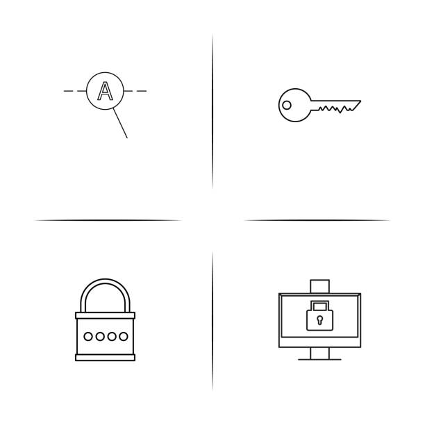 Web And Text simple linear icon set.Simple outline icons vector art illustration