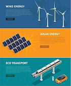 Web backgrounds eco power sources such as wind turbines, solar panels, eco transport. Ecological low and zero emission renewable electricity power energy generation devices